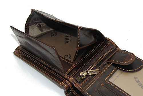 Herren Geldbörse Geldbeutel Portemonnaie Leder WILD, Farbe:Braun - 6