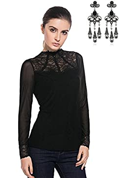 MODETREND Mujeres Blusas Manga Larga Cuello Alto Camisas Encaje Camisola Camisetas Tops Otoño Primavera