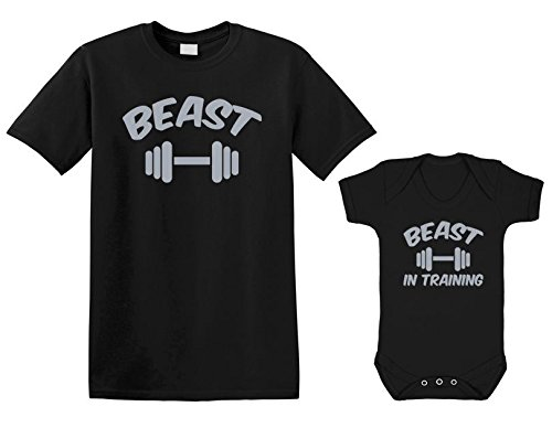 ART HUSTLE Beast and Beast in Training - Mens T Shirt with Short Sleeve Bodysuit Matching Gift Set