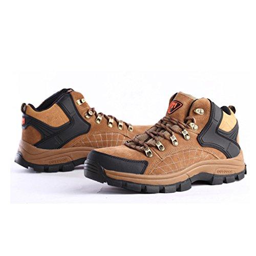 FLYGAGA Herren High-top Lace-up Wildleder Wasserdicht Atmungsaktiv Outdoor Stiefel Sport Trekking Trail Wandern Schuhe Khaki
