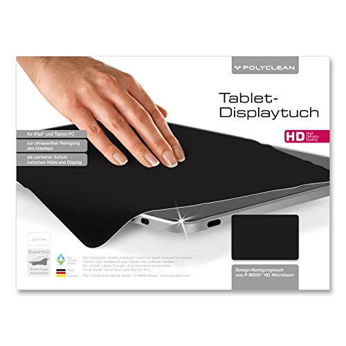 POLYCLEAN 1x Displaytuch – Reinigungstuch für Tablet, Notebooks & Laptops – Schutztuch für Bildschirm, Tastatur & Monitor (23 x 17 cm, Schwarz, 1 Stück)