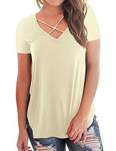 iClosam Damen T Shirt Locker Sexy und Lässig 2018 Sommer V Ausschnitt  Kurzarm Oberteil. ( 3601efef6d