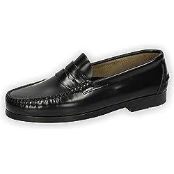 ZAPATOP 1001 Castellanos DE Piel Hombre Zapatos MOCASÍN Negro 45