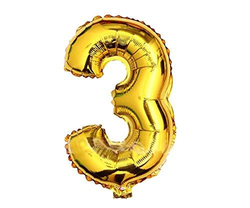 Globos de color dorado y plateado de 40,6 cm con número, para decoración de fiestas de cumpleaños de joyliveCY