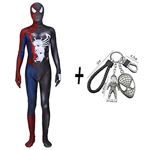 WEDSGTV Spiderman Cosplay Kostüm Super Venom Movie Game Charakter Stretch Strumpfhosen Erwachsene Kinder Party Requisiten + Spiderman Schlüsselbund,Child-M (Venom Kostüm Party Stadt)
