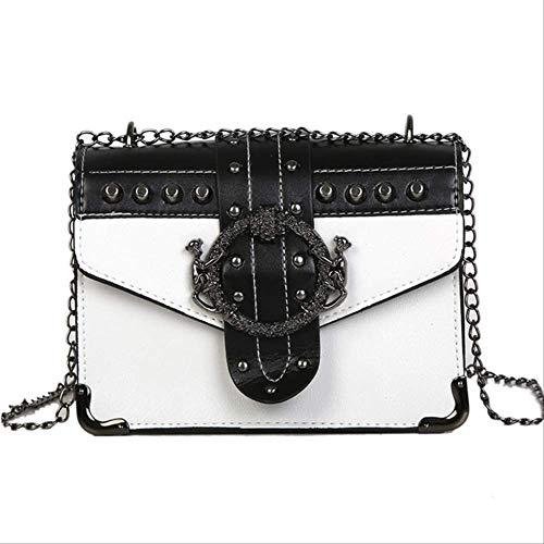 ZQHY UmhängetascheFrauen Hangbags Mode Niet Taste Design Umhängetasche Umhängetasche Frauen Kleine Berühmte Tasche FrauenWeiß -