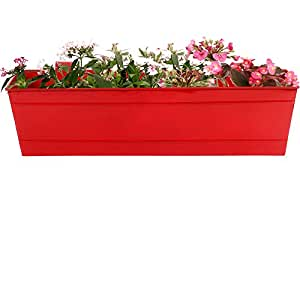 TrustBasket Rectangular Railing Planter -Red (23 Inch)