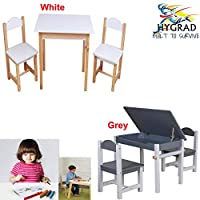 HYGRAD® Childrens Kids Nursery Wooden Play Table and Chairs Set With Lift-Top Storage Nursery Sets Indoor Use Unisex Best Gift For Birthday Xmas (White Table & Chair)
