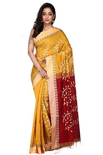 Badal Textile Handloom Cotton Tant Silk Saree, Traditional Bengali Wear (Yellow &...