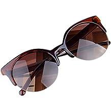 Sunglasses Spectacles, Hot Clearance Sale Manadlian Summer Vintage Sunglasses Cat Eye Semi-Rim Round Sunglasses for Men Women Cool Beach Sun Glasses (Tea, One size)