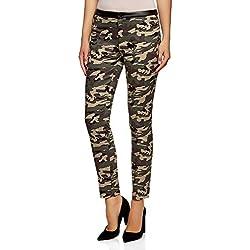 oodji Ultra Mujer Pantalones de Estilo Militar con Cintura de Piel Sintética, Verde, ES 42 / L