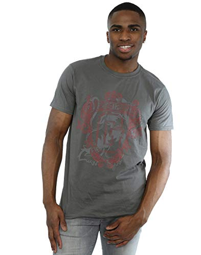 Harry Potter Herren Gryffindor Lion Crest T-Shirt Holzkohle Large -