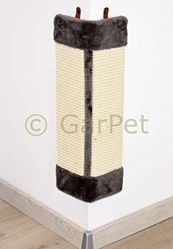 Katzen Eck Kratzbrett Wand Kratz Schutz Matte Sisal Plüsch Innen Außen Ecke Grau