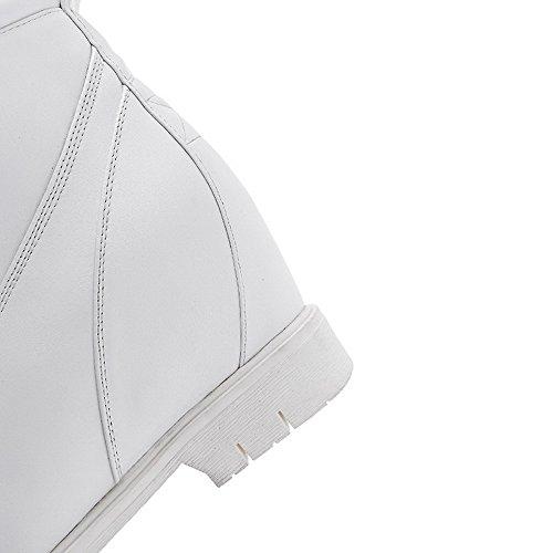 VogueZone009 Donna Luccichio Punta Tonda Media Altezza Tacco Alto Puro Stivali Bianco