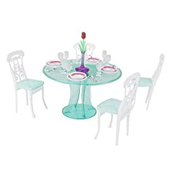 Imported Doll House Miniature Furniture Dining Table Set For Barbie