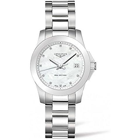 Longines Mujer Swiss Conquest Diamond Accent pulsera de acero inoxidable reloj de 34mm l33774876