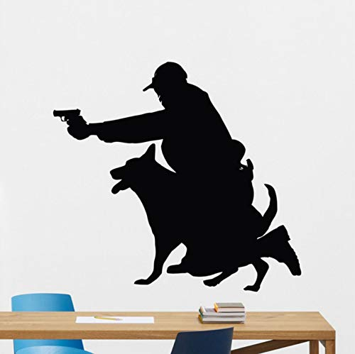Female Police Officer AndDog Wall DecalHunting Dog Vinyl Sticker Living Room Home Decor 58x62cm - Officer Baseball