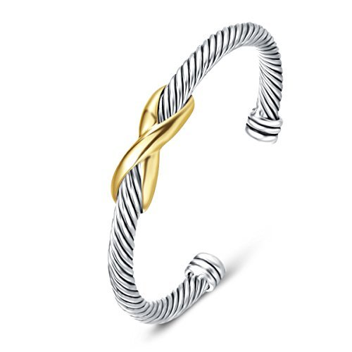 UNY Damen Manschette Armband Geflochten Armreif Versilbert mit vergoldetem Knoten Valentinstag, Muttertag