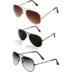 Discount Low Price Branded Sunglasses Combo Offers for Boys Girls Mens Womens Stylish Pair of Goggle by YS Sunglasses (BlackBlackHalfBlackGoldenBrown)(TY-PCK3IN1 - 0002)