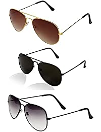 cc55b346bf Y S Sunglasses 3 Combo Set Of 3 Uv Protect Aviators Unisex Sunglasses For  Men Women
