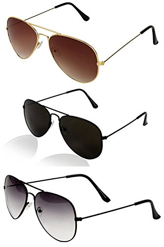 Y&S Sunglasses 3 Combo Set Of 3 Uv Protect Aviators Unisex Sunglasses For Men/Women With 3 Boxes (Black Black - Half Black - Golden Brown)
