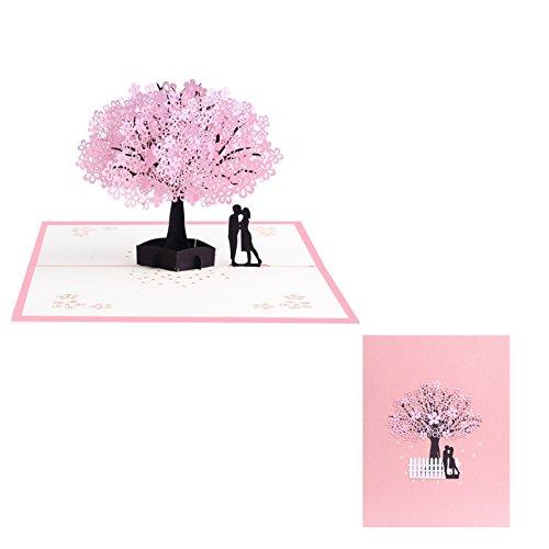 Kofun Grußkarte mit Umschlag, 3D Pop up Kirschblüten Paar Grußkarte Weihnachten Geburtstag Neujahr Einladung 20x15 cm / 7,87