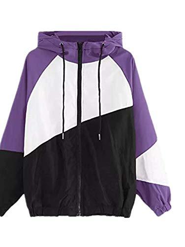 TWIFER Frauen Langarm Patchwork Dünne Skins Suits mit Kapuze Hoodie Reißverschluss Sport Mantel (Poppins Kinder Mary Kostüm)