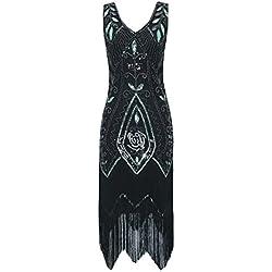 Metme Mujeres Años 20 Vintage Vintage Flapper con cuentas Gran vestido de fiesta clásico parte indumentaria