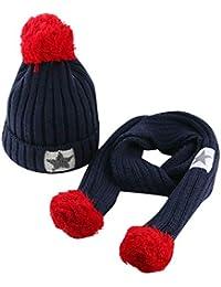ODJOY-FAN-bambino capelli grandi Lana Cappello lavorato a maglia sciarpa  tute-Moda carino neonato mantenere caldo… 13758a4fc809