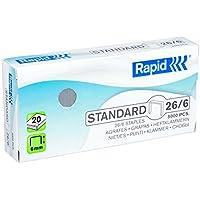 Rapid Agrafes en fil souple Standard N°26, Longueur 6 mm, 5000 Agrafes, Agrafe jusqu'à 20 feuilles, Fil galvanisé, 24861800