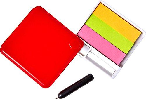 Klebezettel Etiketten Haftzettel + Kugelschreiber Spiegel Haftnotiz 4 Farben Heftstreifen 25 Stück je Farbe Box Farbwahl (Rot)