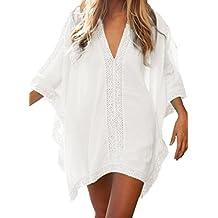 Doublean Vestido Corto de Playa Verano Mangas Cortas Suelto V-Cuello Camiseta y Pareos Para Mujer Baño
