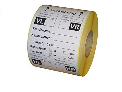 Preisvergleich Produktbild Reifenetiketten für Einlagerung auf Rolle - 100 x 150 mm - 480 Stück - Variante A