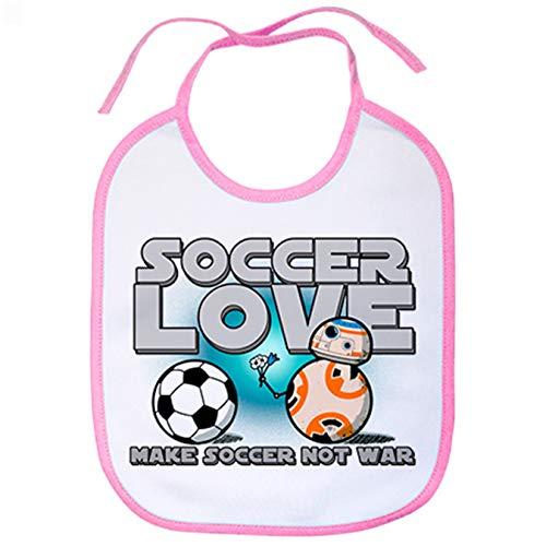 Babero Soccer Love Make Soccer Not War para futbolero enamorado amor - Rosa