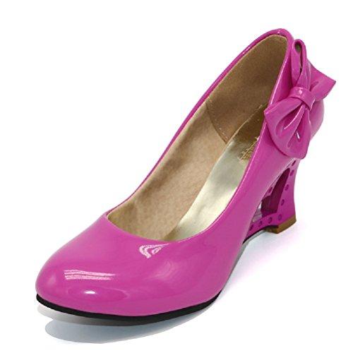 Pumps 4 Farben Weiß Creme Pink Schwarz Keil Hochzeit High Heels Schuhe Brautschuhe Braut Damenschuhe (37 wie (36), Pink)