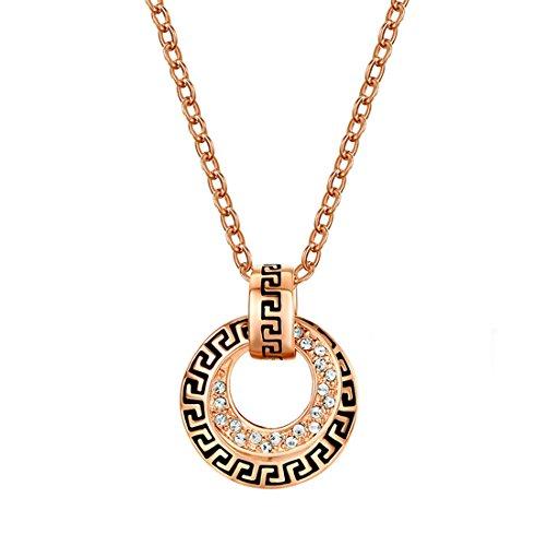 hktc Exquisite 18K Rose vergoldet mit Stellux österreichischen Kristallen G Element Kreis Anhänger - Gold Origami Kette Eule