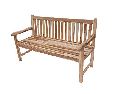Giomoebel TEAK Gartenbank | Balkon Terrassen- Parkbank | Sitzbank 150 cm 3-Sitzer | CONRADO (Terrasse Parkbank)