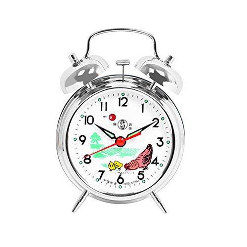 Cunluna Reloj Despertador mecánico de Doble Campana con diseño de Gallo en arroz, Color Plateado