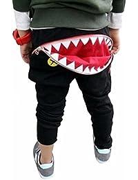 Niños Pantalones,Sonnena ⚽⚽⚽ Niños Chicos Chicas Cremallera Tiburón Dientes Harén Pantalones Pantalones