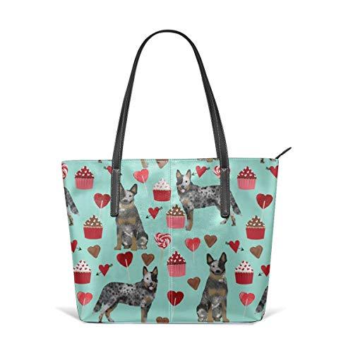 hulili Damen Tasche aus weichem Leder Schultertasche Australian Cattle Dog Blauer Mantel Valentines Love Hearts Hunderasse Türkis Mode Handtaschen Umhängetasche Geldbörse Australian Mantel