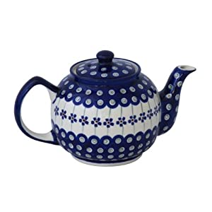 Blue Rose Polish Pottery Flowering Peacock Medium Teapot