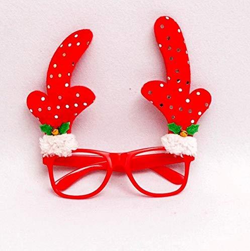 SUxian Weihnachten Kostüm, Neuheit Weihnachtsfeier Brille Lustige Sonnenbrille Brillen Weihnachten Kostüm Ornamente Geschenke Ohne Linsen (Rot Geweih Muster)