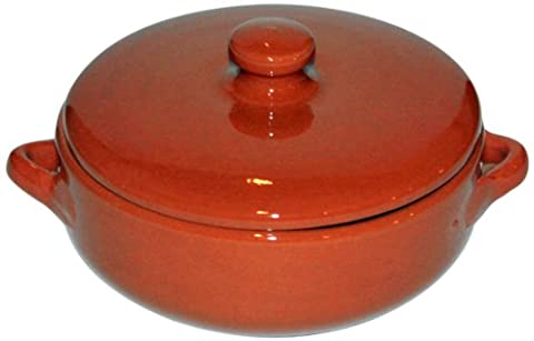 Amazing Cookware Natural Terracotta Deep Dish with Lid (Diameter 15cm, Depth 5cm)