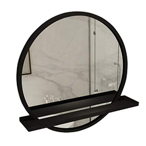 JJHOME-Spiegel Runder Wandspiegel aus Metall mit Trennwandhalter, 50 / 60CM Durchmesser - Golden, Schwarz (Eingangsbereich Spiegel Regal)