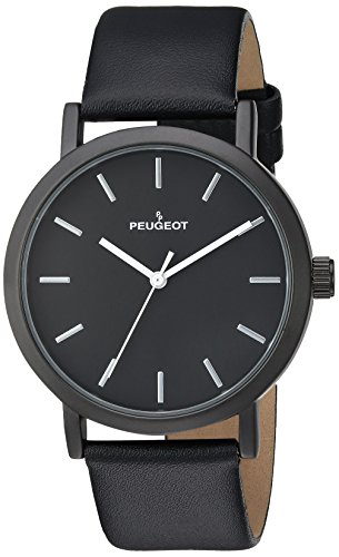 Peugeot Men's Analog-Quartz Watch with Leather-Calfskin Strap 2059BK