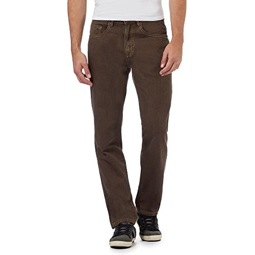 Mantaray Mens Brown Straight Leg Trousers with Zip-Up and Button Detailing 32S