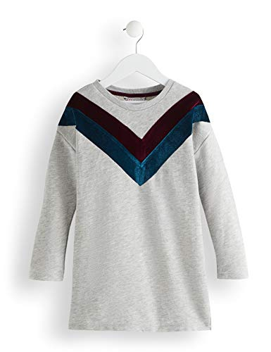 RED WAGON Sweater Velvet Detail Robe Fille, Gris (Grey), 110 (Taille Fabricant: 5)