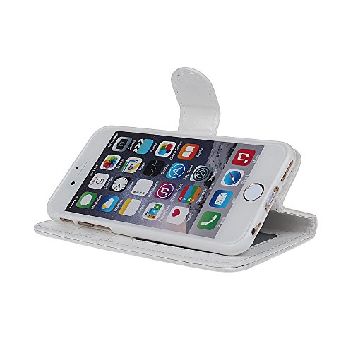 """xhorizon® Neu Blume Blatt Stil Brieftasche Folio Flip Magnetic Ständer Leder Tasche Case Hülle mitKreditkarteninhaber für 4.7"""" iPhone 6 A-Weiß"""