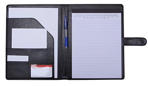 Portfolio-ordner Schwarz (A4 Schreibmappe Portfolio Leder Dokumentenmappe für juristische-Ordner Klemmbrett Klemmbrettmappe Padfolio Dokumenten (Schwarz))