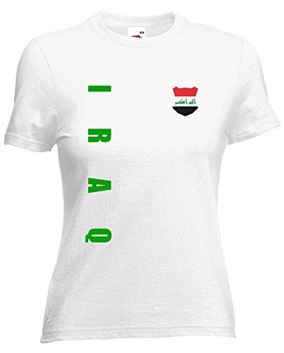 Irak Iraq Damen T-Shirt Trikot Wunschname Wunschnummer (Weiß, S)